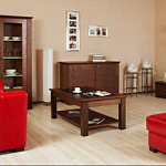 casetti meble do salonu ława drewniana czerwone pufy