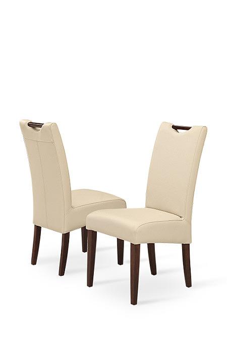 Comfort białe krzesła skórzane do salonu pełne oparcie