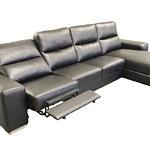 Comfort czarny skórzany narożnik z funkcją relaks