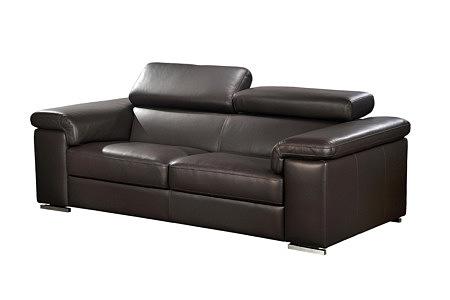 dion sofa skórzana z zagłówkami brązowa