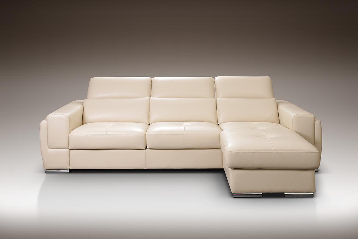 diva biała sofa narożnik ze skóry