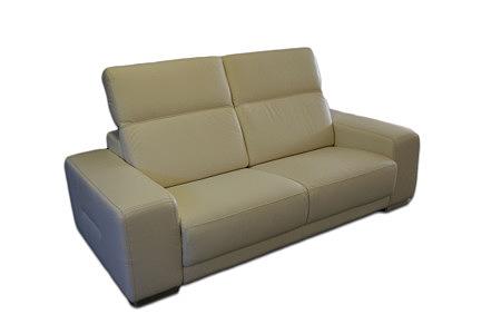 Domino - sofa dwuosobowa skórzana kremowa, masywne boki, miękkie siedzisko