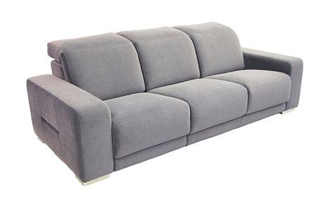 Domino - fioletowa sofa do salonu, tkanina carabu w kolorze jasno fioletowym, metalowe nogi