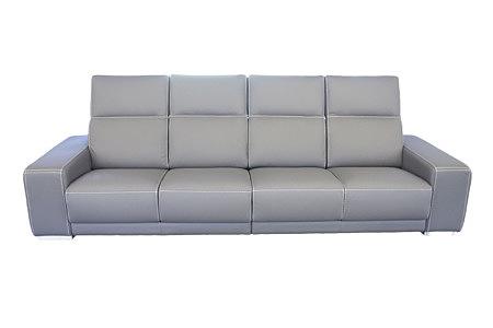 Domino - elegancja szara sofa skórzana, jasna szara skóra przeszyta białą grubą nicią