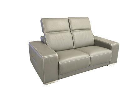Domino - sofa skórzana, kolor szary, dwuosobowa, z zagłówkami regulowanymi i grubymi masywnymi bokami