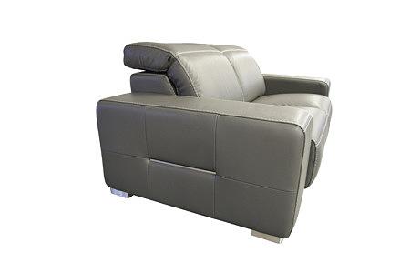 Domino - sofa szara skórzana do salonu z ozdobnymi elementami ze stali nierdzewnej szczotkowanej