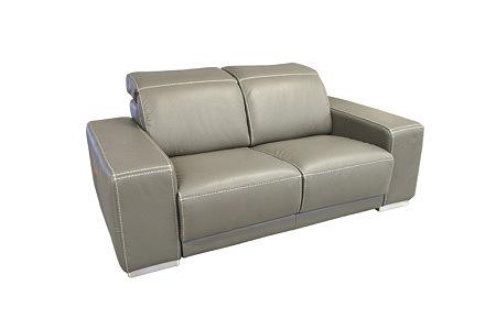 Domino - szara sofa skórzana z podnoszonymi zagłówkami, tapicerka mebla szara skóra naturalna, metalowe nogi, grube masywne boki