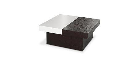 DUO kwadratowa ława z rozsuwanym blatem biała czarna