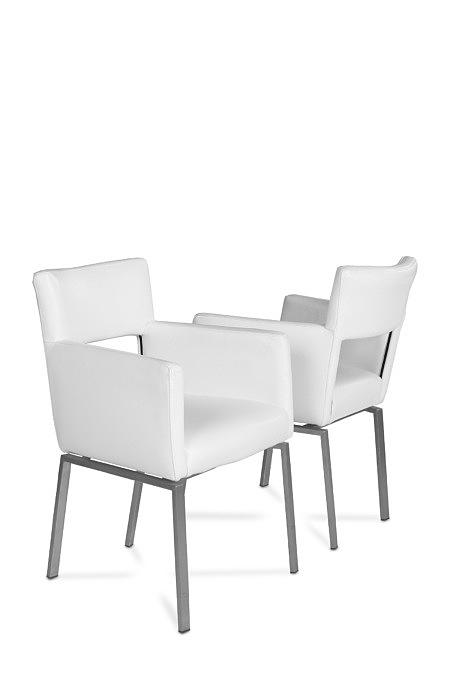 Fiesta krzesło cube kwadratowe białe kubełek metalowe nogi