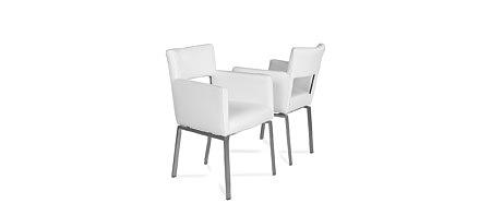 Fiesta nowoczesne białe kwadratowe krzesło na metalowych nogach