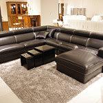 Genesis czarna skórzana sofa z funkcją spania