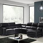 Genesis czarna sofa narożnik ze skóry