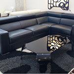 Genesis czarna sofa skórzana narożnik