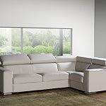 Genesis narożnik biały skórzany sofa