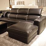 Genesis nowoczesny narożnik sofa czarna skóra