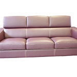 Genesis różowa sofa trzyosobowa ze skóry