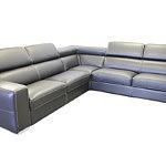 Genesis sofa narożnik z czarnej skóry