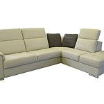 Genua biała skórzana sofa z metalowymi nogami