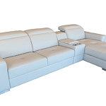 genua biała sofa skórzana z funkcją spania