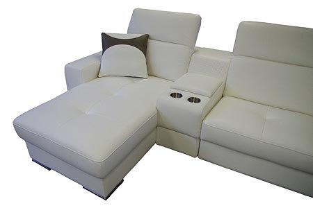 genua biała sofa z głośnikami skórzana