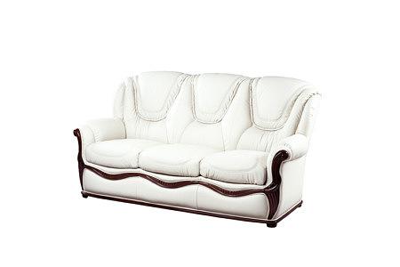 Innes biała stylowa sofa ze wstawkami z drewna