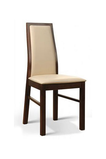 jaskiektapic krzesło drewniane oparcie tapicerowane skórzane kremowe
