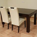 kanada2 stół okleina dębowa białe krzesła tapicerowane