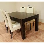 Kcomfort krzesła skórzane białe stół dębowy