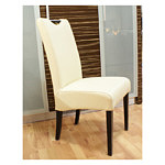 Kcomfort krzesło z drewna bukowego białe skórzane