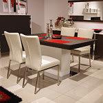 Ktwist białe krzesła skórzane metalowe stół na jednej nodze