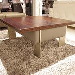 l04 nowoczesna ława do salonu nogi metalow blat drewniany