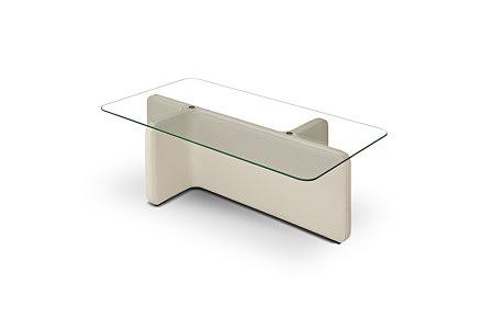 L07 biała ława szklana podstawa skórzana tapicerowana