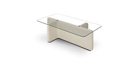 L07 biała ława z blatem transparentnym szklanym ze szkła hartowanego