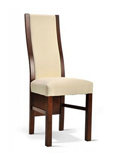 lisa krzesło drewniane pełne oparcie skórzane brązowe kremowe