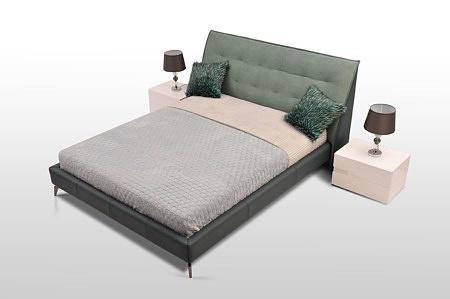 łóżko na wysokich nogach zagłowie skóra + materiał eleganckie