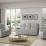 Marco - nowoczesny komplet wypoczynkowy, skórzany, 3+2+1, biała skóra naturalna, funkcja relax