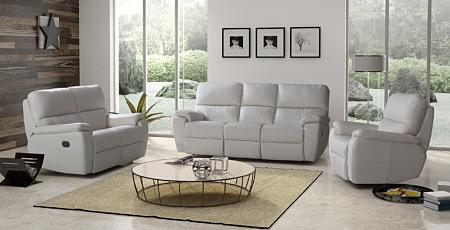 Marco - nowoczesny komplet wypoczynkowy biała sofa skórzana i fotele skórzane z funkcją relax - meble na zamówienie TC Wrocław
