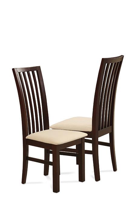 Milano brązowe krzesło drewniane do jadalni siedzisko kremowe