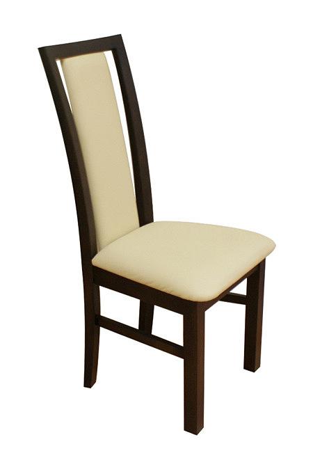 milano2 krzesło drewniane dębowe biała skóra