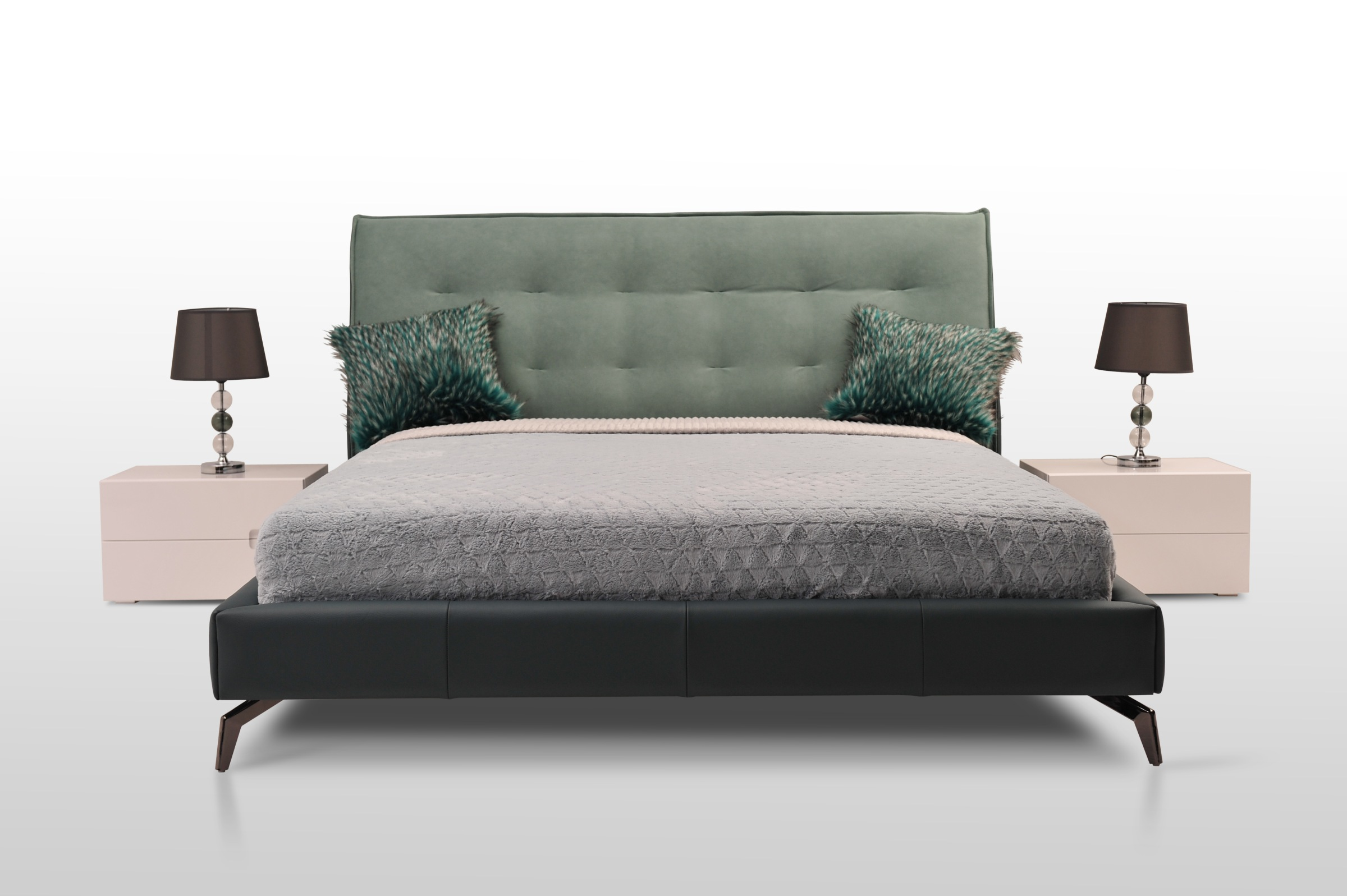 Nicole II nowoczesne łóżko na wysokich nóżkach materiał i skóra