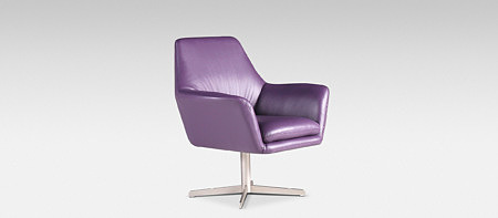 Nowoczeny fotel obrotowy fioletowy metalowa stopa