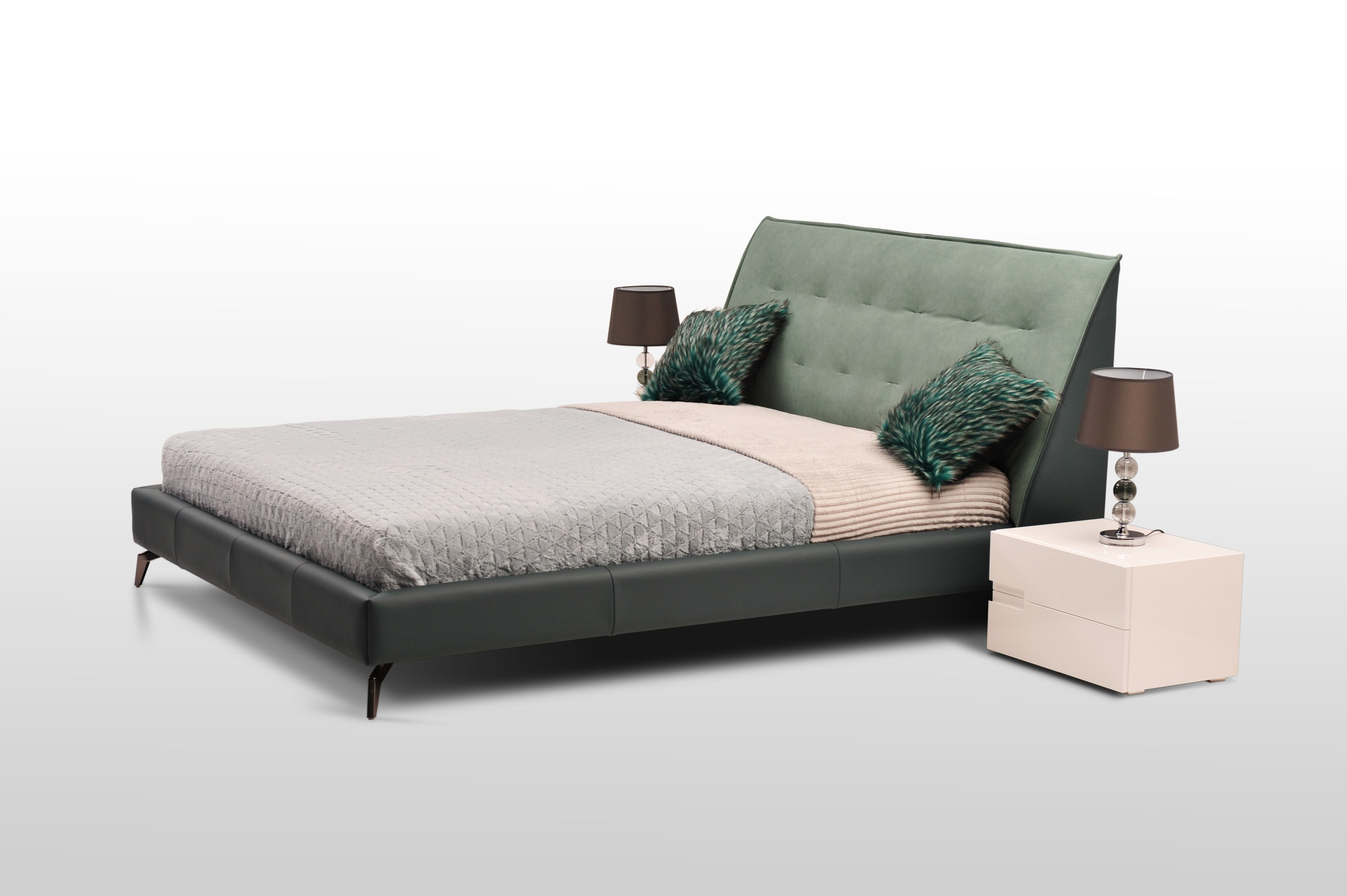 Nowoczesne łóżko nicole ii z wysokimi nogami