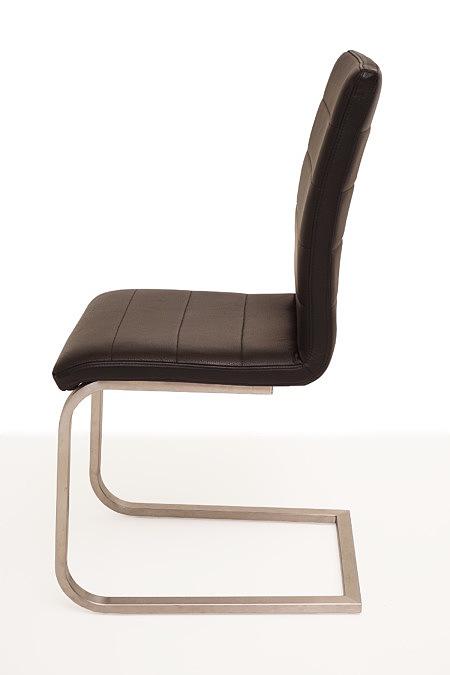 Nuvo krzesło metalowe brązowa przeszywana skóra