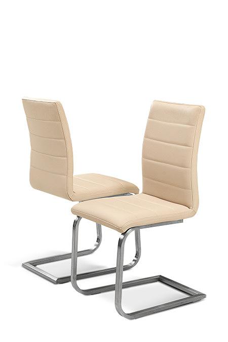 Nuvo nowoczesne krzesło metalowe do jadalni kremowa skóra