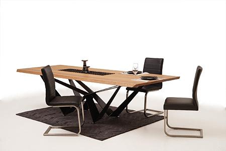 Nuvo nowoczesny salon aranżacja z krzesłami metalowymi skórzanymi