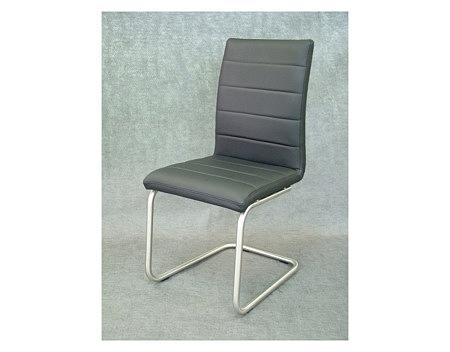 nuvo szare krzesło skórzane na metalowych płozach