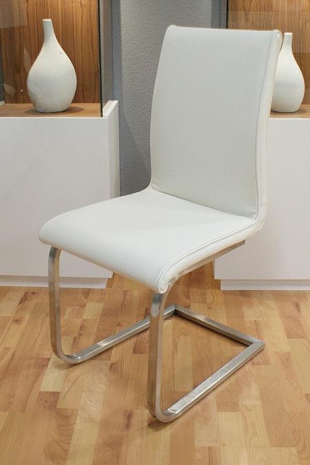 Nuvola krzesło na metalowych płozach skórzane białe oparcie