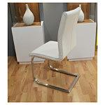 nuvola krzesło skórzane białe metalowe płozy