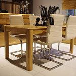 palermo stół dębowy białe krzesła z metalowymi nogami