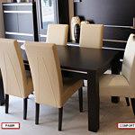 Pamir krzesła skórzane beżowe dębowy stół